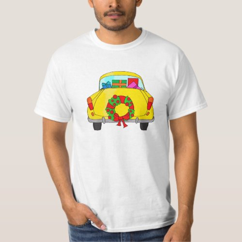 Yellow car with Christmas wreath T-Shirt After Christmas Sales 3389