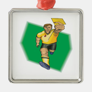 Yellow Card Metal Ornament