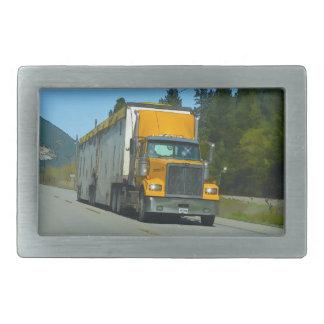 Yellow Cargo Truck & Highway Art for Lorry-lovers Belt Buckle