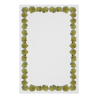 Yellow Carnation Border on Blank Background Poster
