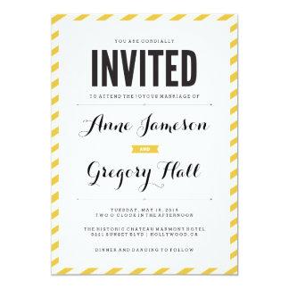 Yellow Carnival Stripes Modern Wedding Invitation