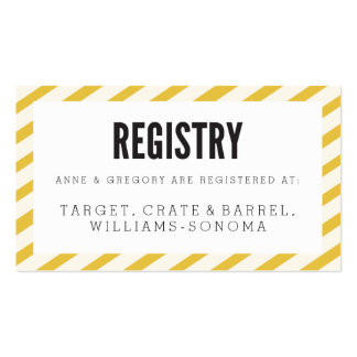 Yellow Carnival Stripes Registry Insert Card Double-Sided Standard Business Cards (Pack Of 100)