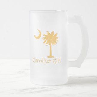 Yellow Carolina Girl Palmetto Frosted Glass Beer Mug