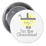 Yellow Carriage Baby Shower I'm The Grandma 3 Inch Round Button
