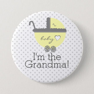 Yellow Carriage Baby Shower I'm The Grandma Pinback Button