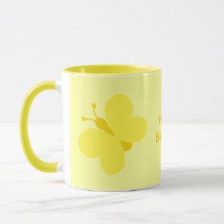Yellow cartoon butterflies Birthday ringer mug