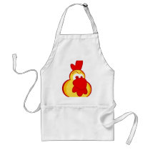 yellow cartoon cartoon rooster face adult apron