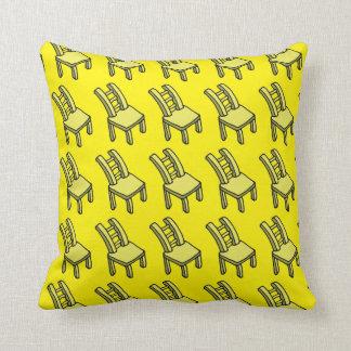 "Yellow Cartoon Chair Throw Pillow 16"" x 16"""