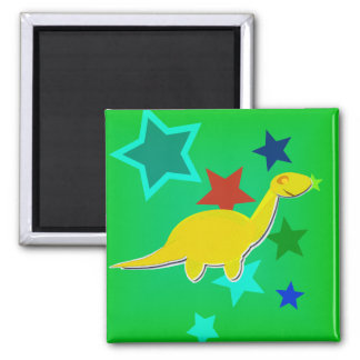 Yellow Cartoon Dinosaur Color Stars Fridge Magnet