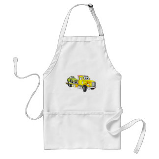 Yellow Cartoon Flatbed Tow Truck Adult Apron