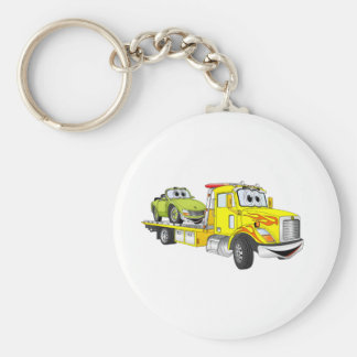 Yellow Cartoon Flatbed Tow Truck Basic Round Button Keychain