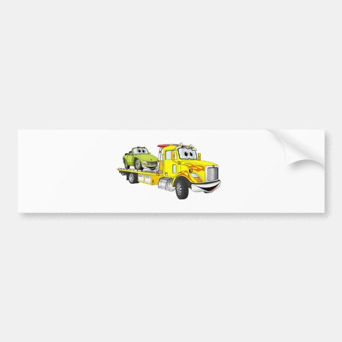Yellow Cartoon Flatbed Tow Truck Bumper Sticker