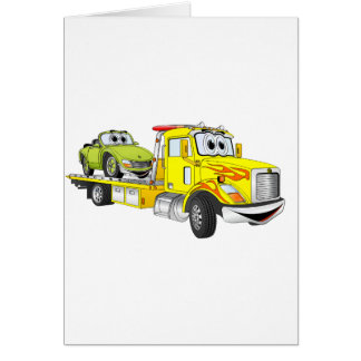Yellow Cartoon Flatbed Tow Truck Greeting Card