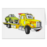 Yellow Cartoon Flatbed Tow Truck Greeting Cards