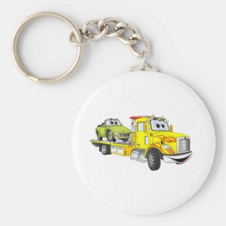 Yellow Cartoon Flatbed Tow Truck Keychain