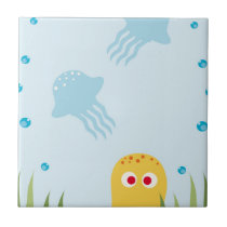 Yellow Cartoon Octopus Tile