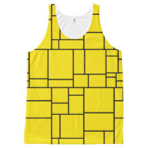 Yellow Cartoon Stone Tile Pattern All-Over-Print Tank Top