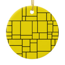 Yellow Cartoon Stone Tile Pattern Ceramic Ornament
