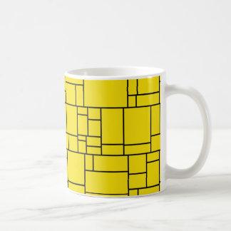 Yellow Cartoon Stone Tile Pattern Coffee Mug