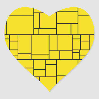 Yellow Cartoon Stone Tile Pattern Heart Sticker