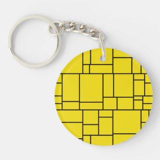 Yellow Cartoon Stone Tile Pattern Keychain