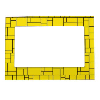 Yellow Cartoon Stone Tile Pattern Magnetic Picture Frame