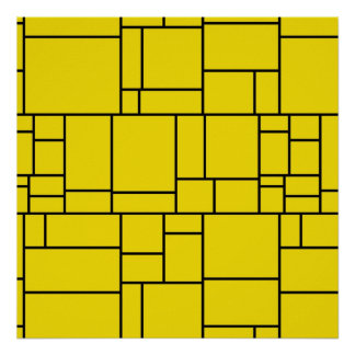 Yellow Cartoon Stone Tile Pattern Poster