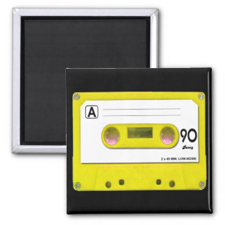 Yellow Cassette Tape 2 Inch Square Magnet