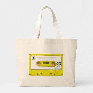 Yellow Cassette Tape Jumbo Tote Bag