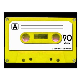 Yellow Cassette Tape Postcard
