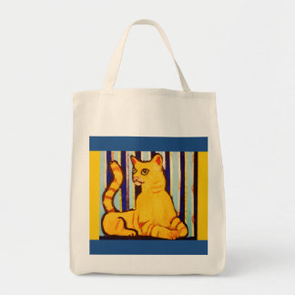 Yellow Cat Design on Grocery Tote Tote Bags