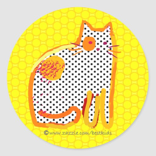 'yellow cat' digital painting seal sticker