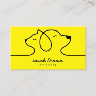 Yellow Cat Dog Line Logo Petsitter Business Card