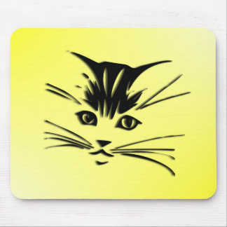 Yellow Cat Face Mouse Pad