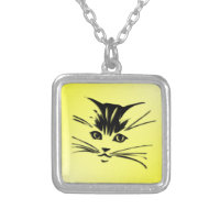 Yellow Cat Face Square Pendant Necklace