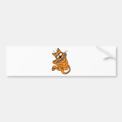 Yellow Cat Freaked Out Bumper Sticker