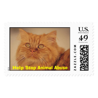 Yellow Cat, Help Stop Animal Abuse Postage