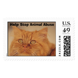 Yellow Cat, Help Stop Animal Abuse Postage Stamp