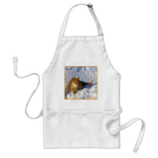 Yellow Cat in the Snow Adult Apron
