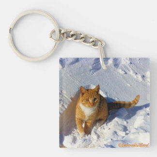 Yellow Cat in the Snow Key Ring Keychain