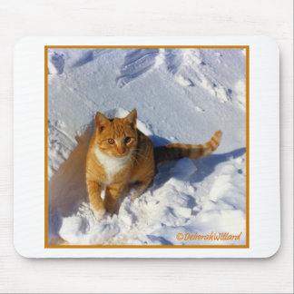 Yellow Cat in the Snow Mouse Pad