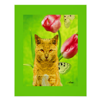 YELLOW CAT IN THE WINDOW WITH TULIPS POSTER
