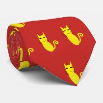 Yellow cat neck tie