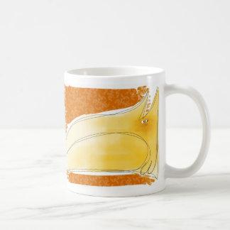 Yellow cat on cushion classic white coffee mug