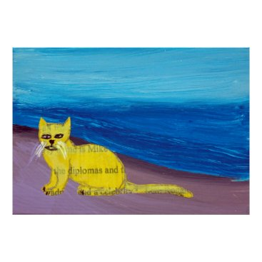 Beach Themed yellow cat on purple beach poster
