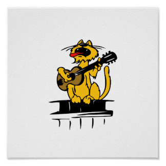 yellow cat playing guitar and singing poster