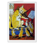 Yellow Cat Plays the Violin For Happy Dancing Rats Greeting Card