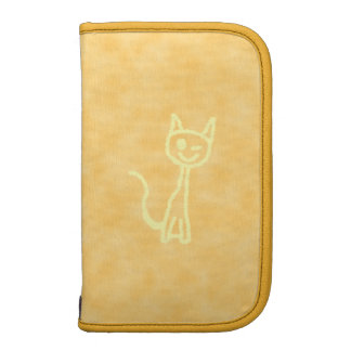 Yellow Cat, Winking. Yellow Pattern Background. Planners