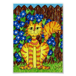 Yellow Cat with Morning Glories Mini Folk Art Poster