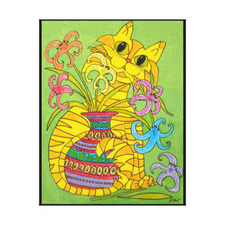 Yellow Cat with Vase of Lilies Canvas Print